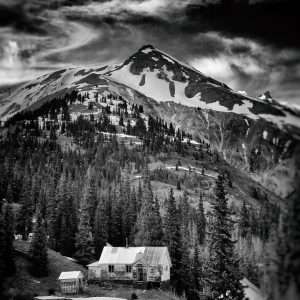 b&w photograph of old ghost town off the San Juan skyway, Colorado