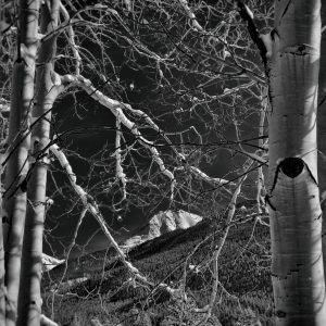 black and white photo of snow in Silverton, Colorado